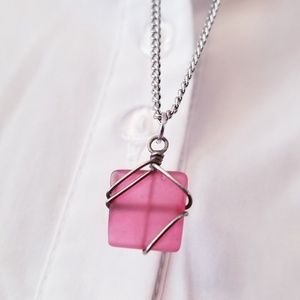 Jewelry - Pink Square Stone Necklace